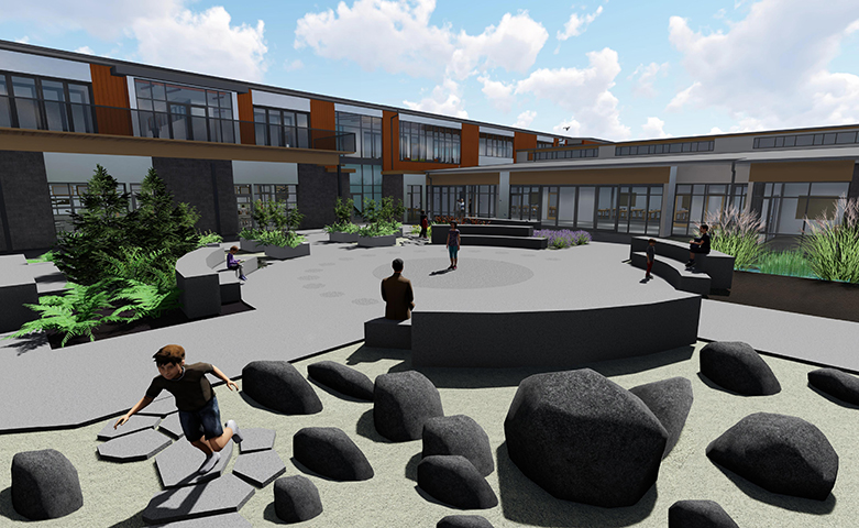 Rending of the courtyard at the new Ogden Elementary