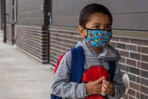 King elementary student entering school.