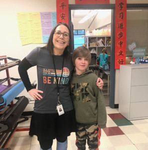 Counselor Lisa DiMurro and a student